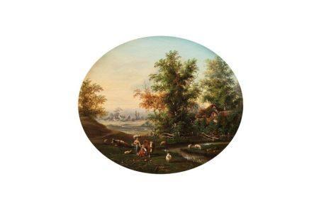 *Ecole SUISSE du XIXème siècle  - Paysage à la chaumière et au troupeau  - Sur sa [...]
