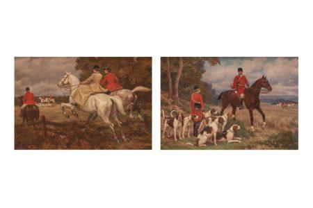Louise COURBOT de LINIERS (1864- ?)  - Paire de scènes de chasse à courre  - Huile [...]
