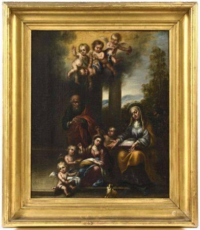 Ecole ESPAGNOLE vers 1670 suiveur de Murillo (1617-1682)  - La Vierge cousant [...]