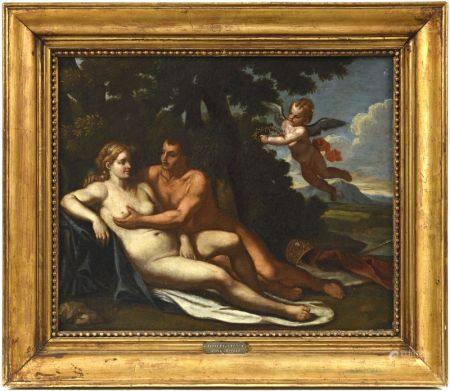 Ecole ROMAINE vers 1650 suiveur de Nicolas Poussin (1594-1665)  - Couple amoureux [...]