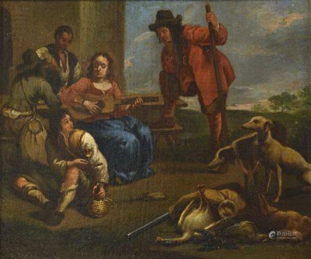 Ecole FRANCAISE vers 1750 entourage de Jean Tassel (1608-1667)  - Le concert de [...]
