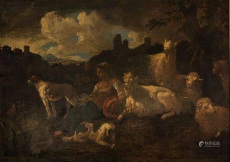 Philipp Peter Roos dit Rosa Di Tivoli (1655-1706) et collaborateur  - Jeune bergère [...]