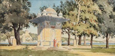 H MIMAUT  - Pavillon sur le Bosphore  - Aquarelle  - 17 x 33,5 cm  - Signé en bas à [...]