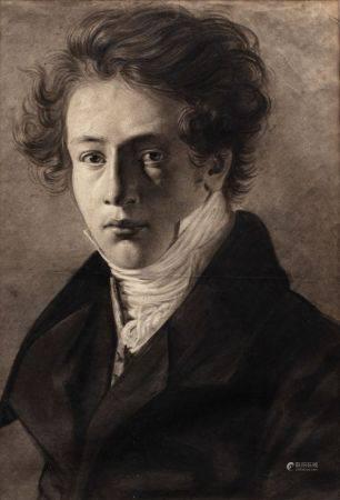 Ecole FRANCAISE du XIXème siècle  - Portrait d'homme  - Fusain et rehauts de craie  [...]
