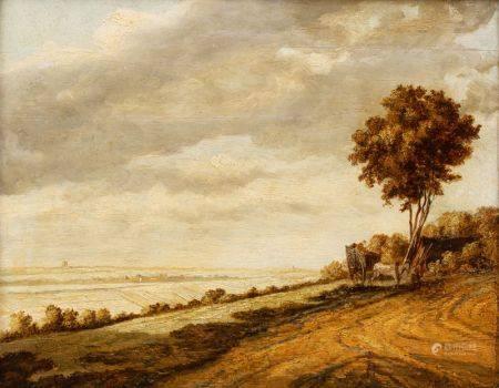Ecole ANGLAISE du XIXème siècle, dans le goût de Pieter MOLYN  - Paysage à la [...]