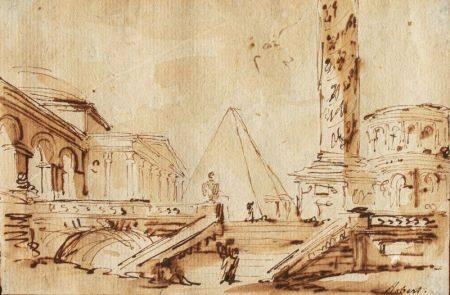 Ecole FRANCAISE du XIXème siècle, dans le goût d'Hubert ROBERT  - Vue d'un [...]