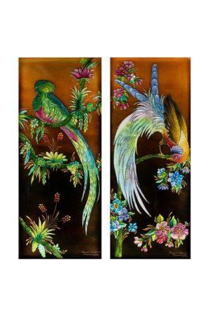 Camille FAURE (1874-1956)  - Oiseau de Paradis et Quelzal du Mexique  - Deux plaques [...]