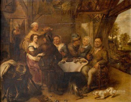 Ecole FLAMANDE vers 1680, suiveur de David II RYCKAART  - Le déjeuner galant  - [...]