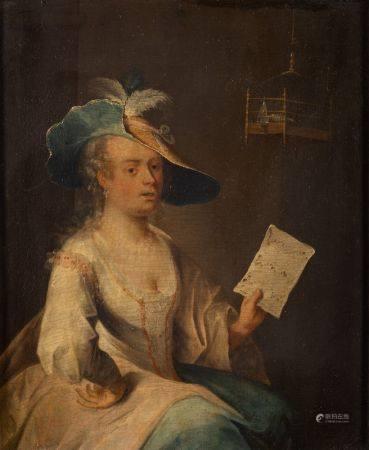 Attribué à Christian Wilhelm Ernst DIETRICH  - (1712-1774)  - Femme à la lettre  - [...]
