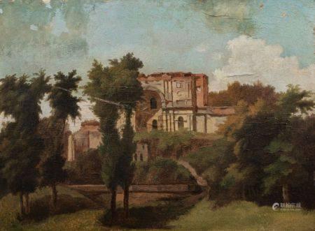 Ecole FRANCAISE vers 1820  - Vue de la campagne romaine avec une architecture antique [...]