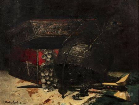 François Martin KAVEL  (Paris 1861-1931)   - Composition au Yatagan   - Huile sur [...]