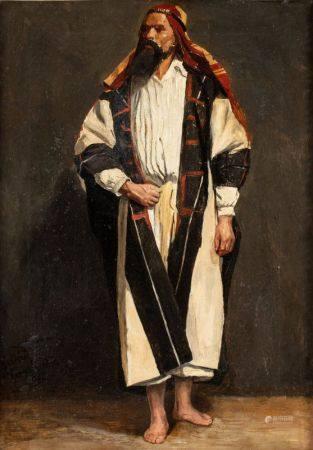 Frédéric van der LINDEN (1852-1926)  - Etude d'arabe en pied  - Huile sur toile  [...]
