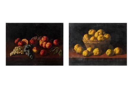 N.V.MILLOIN (actif au XIXème siècle)  - Une paire de nature morte aux fruits  - [...]