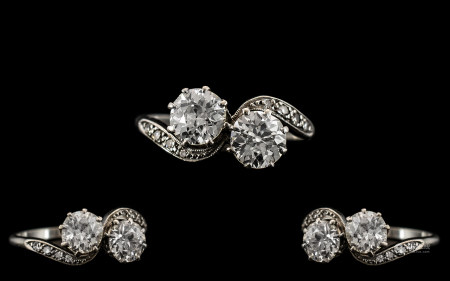 Art Deco Period - 18ct White Gold and Platinum Set Superb Two Stone Diamond Ring. c.1930. The