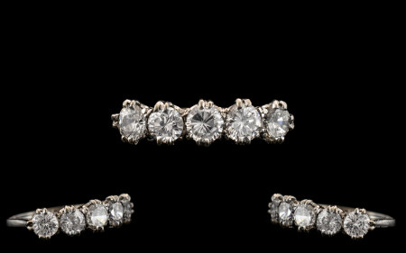 Art Deco Period Attractive 18ct White Gold and Platinum Set 5 Stone Diamond Ring, All Five Faceted