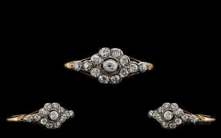 Antique Period - Attractive 18ct Gold and Platinum Set Diamond Dress Ring of Pleasing Design. The