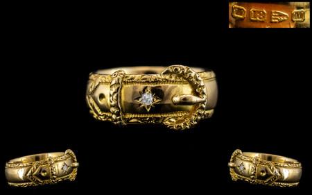 Victorian Period - Superb Gentleman's 18ct Gold Diamond Set Buckle Ring. Full Hallmark for Chester