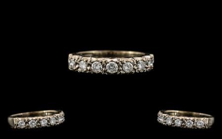 Ladies 1920's - Diamond Set Half Eternity Ring, The Seven Round Brilliant Cut Diamonds of Good