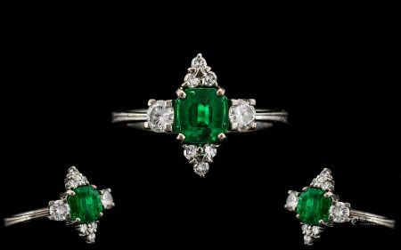 Art Deco Period 18ct White Gold - Attractive Emerald and Diamond Set Dress Ring. Marked 18ct to