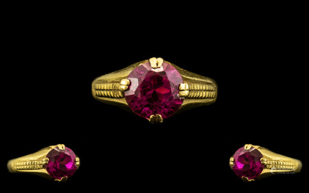Antique Period - Superb 22ct Gold Single Stone Ruby Set Ring, Shank Not Marked but Tests 22ct