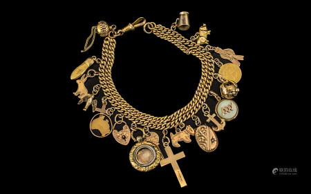 Antique 9ct Gold Double Curb Bracelet Loaded with 19 Gold Charms, Including a 9ct Gold Masonic