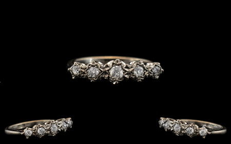 Ladies 18ct White Gold Illusion Set Diamond Ring with Unusual Setting. The Diamonds are Good Quality