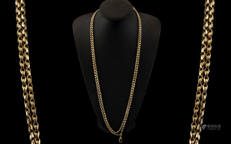Victorian Period Superb 9ct Gold Muff Chain of Fancy Double Link. Marked 9ct. Beautiful Quality