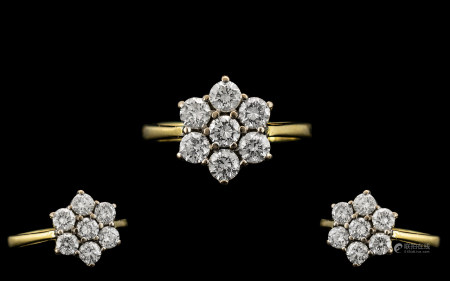 18ct Gold - Ladies Attractive 7 Stone Diamond Set Cluster Ring. Full Hallmark for 18ct - 750. The