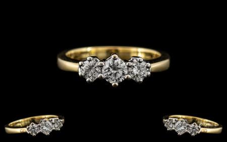 18ct Gold - Superb Quality Ladies 3 Stone Diamond Set Ring. Full Hallmark for 18ct - 750.