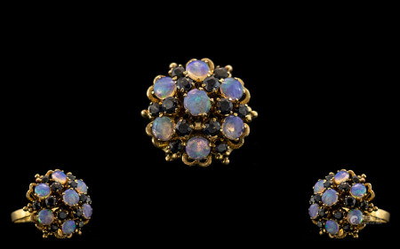 18ct Yellow Gold - Attractive Opal and Sapphire Set Dress Ring - Of Large Proportions In Flower head