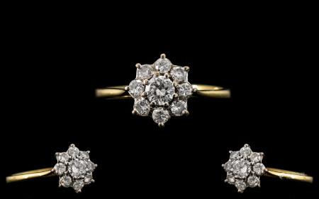 18ct Gold - Ladies Attractive Diamond Set Cluster Ring - Flower head Setting. Full Hallmark for