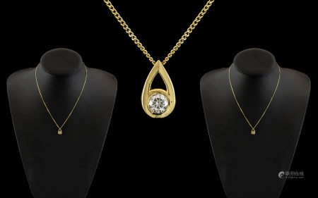 Ladies 18ct Yellow Gold Attractive Single Stone Diamond Set Pendant Drop with Attached 18ct Yellow