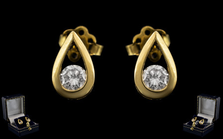Ladies - Fine Pair of Excellent Quality and Attractive 18ct Yellow Gold Diamond Set Earrings. Each