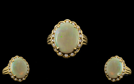 18ct Yellow Gold - Attractive Opal and Diamond Set Ring with Full Hallmark for London 1993 to