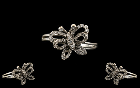Superb Diamonte Butterfly Ring Set In White 9ct Gold. Wonderful Design Butterfly Ring Set with