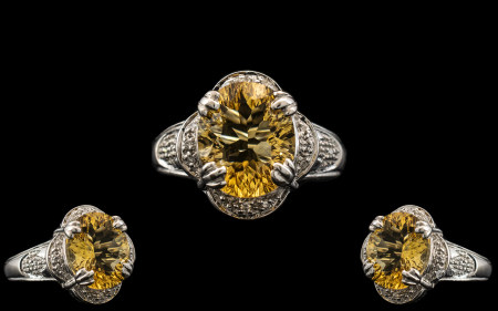 Ladies - 9ct White Gold Attractive Citrine and Diamond Set Dress Ring with Full Hallmark for 9.