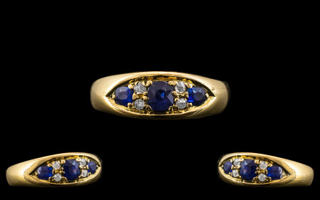 Edwardian Period 18ct Gold - Attractive Sapphire and Diamond Ring. The Old Cut Diamonds and