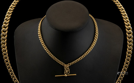 Victorian Period - Superb Quality 9ct Gold Double Albert Chain with T-Bar Clasp. All LInks Marked