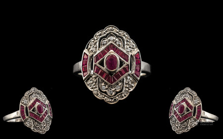 18ct White Gold - Attractive Art Deco Style Ruby and Diamond Set Dress Ring. Excellent Design -