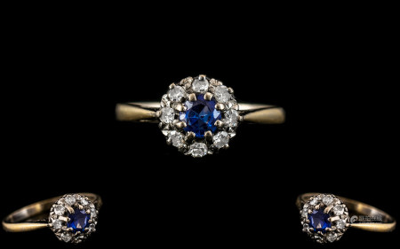 Antique Period 18ct Gold and Platinum Diamond and Blue Sapphire Set Cluster Ring. The Natural