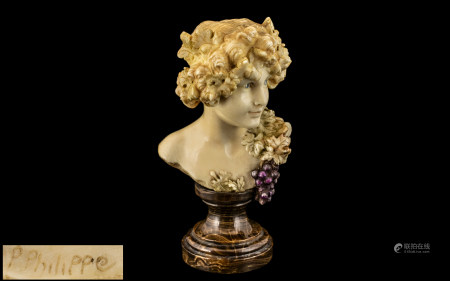 PAUL PHILIPPE (1870-1930) Carved Ivory Sculpture Depicting the Greek Goddess Maenad, Impressed