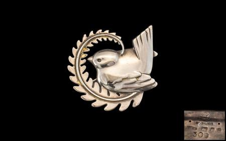 Georg Jensen Sterling Silver Bird Brooch. No 309. Hallmark London 1977 ' Dove on Olive Branch '