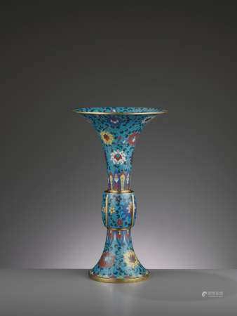 A LARGE CLOISONNE AND GILT-BRONZE GU, QING DYNASTY