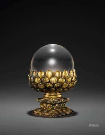 A ROCK CRYSTAL SPHERE & GILT BRONZE BASE, QING DYNASTY