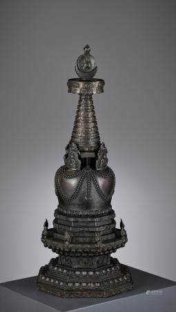 A LARGE MASSIVE 'FOUR BUDDHA' DIRECTIONAL STUPA, QING