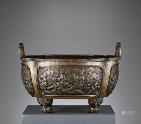 A LARGE AND HEAVY BRONZE 'BOYS' CENSER, QING
