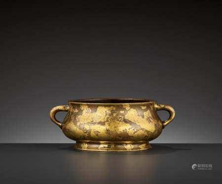 A 'YUTANG QINGWAN' GOLD-SPLASHED CENSER, 17TH CENTURY
