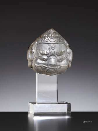 A ROCK CRYSTAL MASK OF A CROWNED BHAIRAVA, 18TH CENTURY