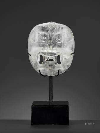 A CARVED ROCK CRYSTAL MASK OF BHAIRAVA, 18TH-19TH