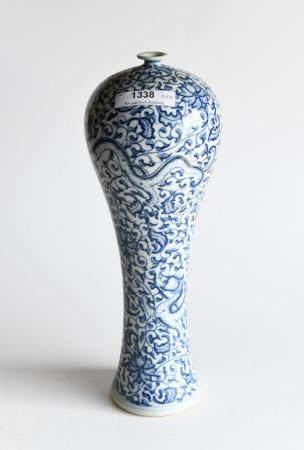 20th century Chinese blue and white glazed vase